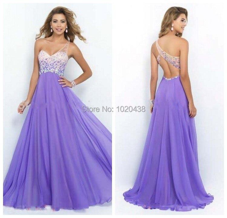 Romantique une épaule de luxe cristaux Plus en mousseline de soie personnalisé lilas lavande Sexy longue robe de bal 2018 dos nu robes de demoiselle d'honneur