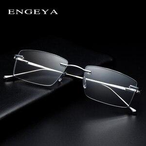 Image 1 - المعادن النظارات الرجال البصرية شفافة مربع موضة العلامة التجارية مصمم إطارات نظارات وصفة طبية مرونة المفصلي # IP378