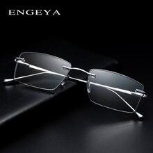 金属光男性メガネ透明正方形のファッションブランドデザイナー処方眼鏡フレーム弾性ヒンジ # IP378
