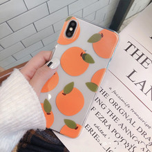 Phone case summer orange for iPhone XS Max XR silicone matte cover 7 8 6s 6 Plus X cute fruit clear cases coque capa