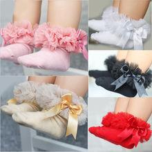 Носки для маленьких девочек с галстуком-бабочкой, хлопковые носки принцессы с кружевными оборками и лентами, Разноцветные носки принцессы серого, красного, черного, розового и белого цветов