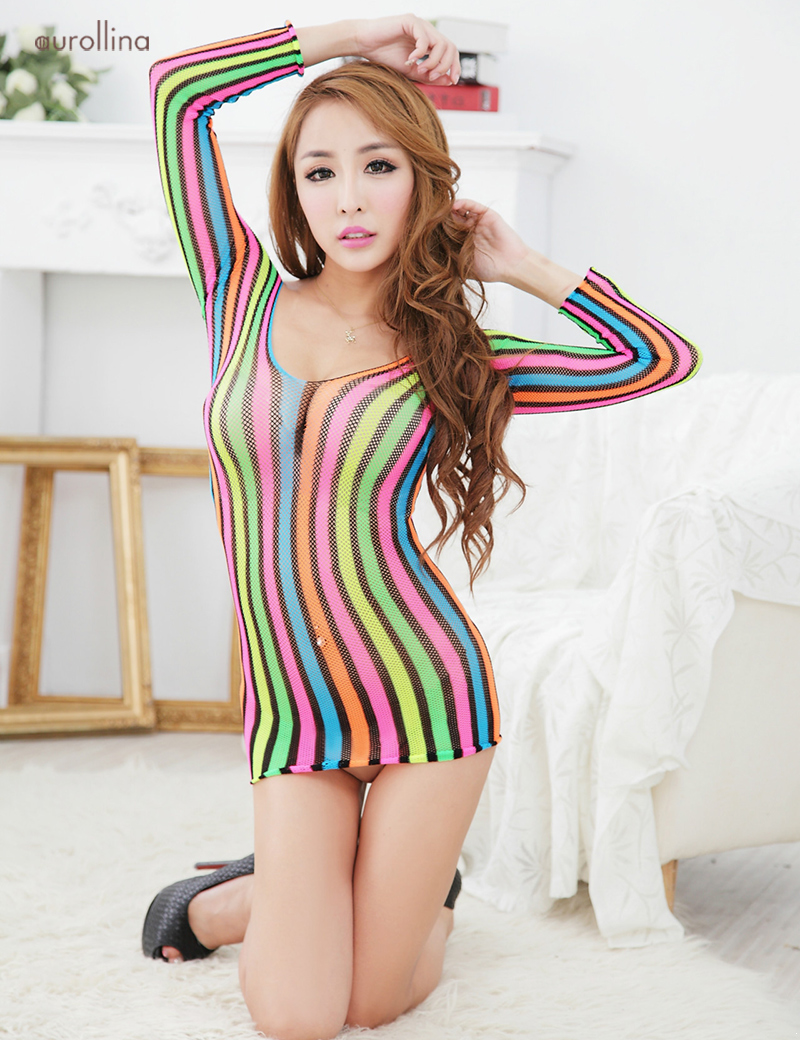 New-Fashion-Bodystocking-Sexy-Babydoll-Rainbow-Color-Deep-V-Nylon-Lingeries-Woman-Fashion-Dress-Uniform (4)