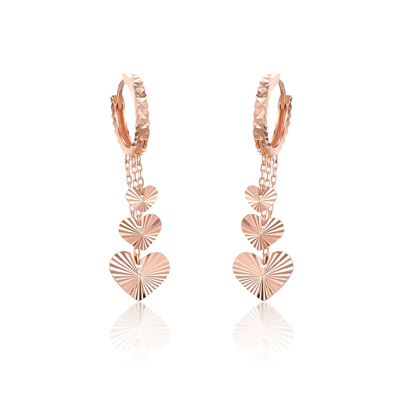 Italy design AU750 Rose Gold Tassels Heart Hoop Earrings 2.65g