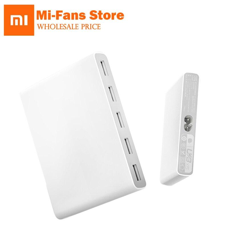 Original Xiaomi Qingmi 5 Puerto 65 W QC2.0 adaptador rápido carga USB cargador estación soporte Tablet PC portátil inteligente dispositivo