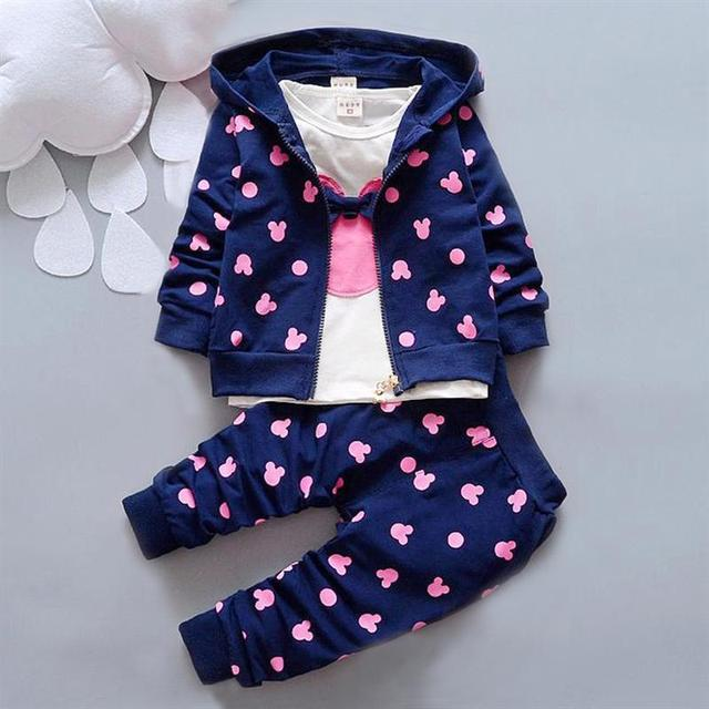 2016 Outono roupas de bebê menina/meninos crianças minnie mickey meninos meninas roupas t-shirt + casaco + calças 3 terno Meninas Meninos conjuntos de roupas