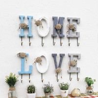 4pcs/set American Style Retro Wooden Wall Hooks Letters Decor Home Wall Hanging Hanger Creative Rural Hook Wall Clothes Rack