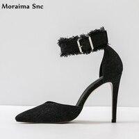 Moraima Snc Printemps Automne femmes sandales Cheville sangle large bande boucle mince à talons hauts bout pointu Jean Vamp chaussures de sport