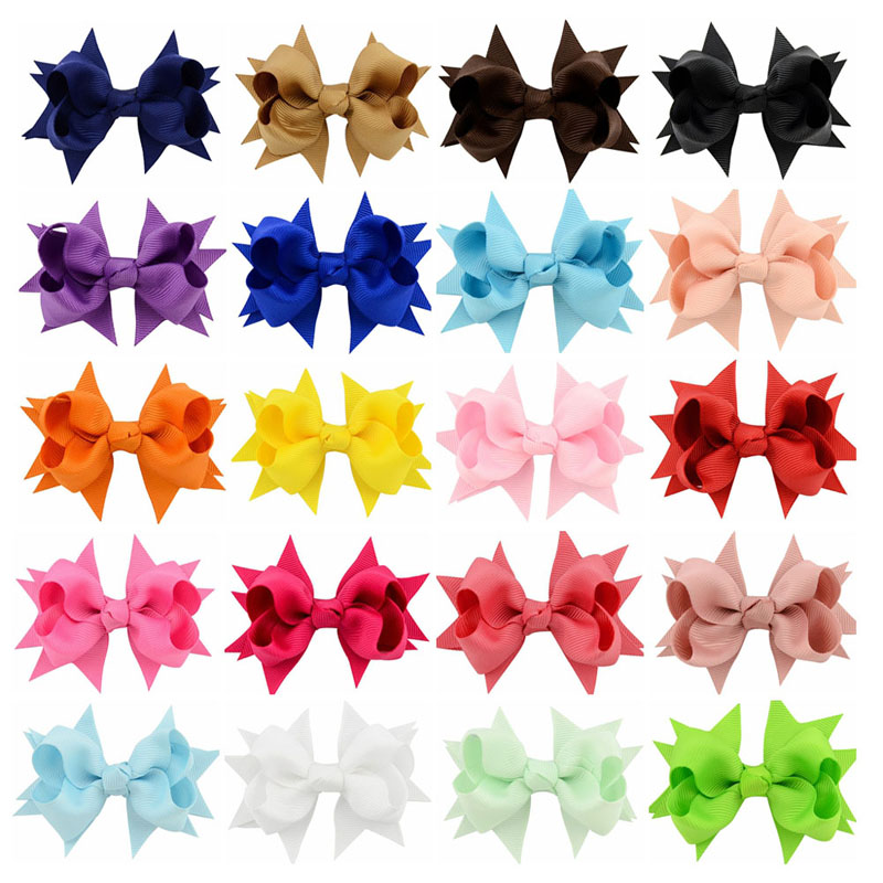 20pcs/lot 3.3 ribbon bows with clips Girls Boutique Hair Accessories Hamdmade Barrettes hairpins Hair Bow For Children kids