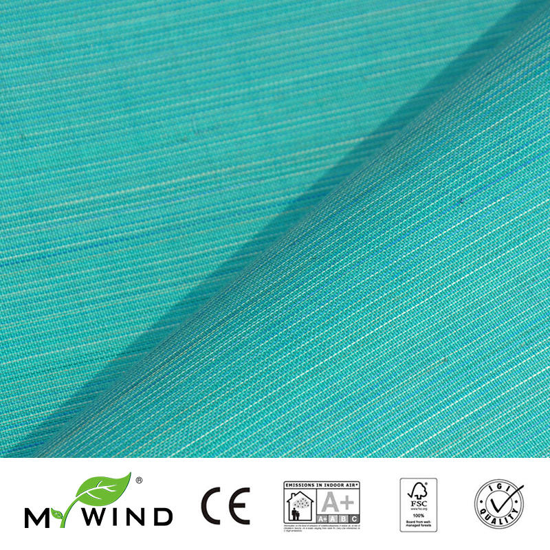 2019 MY WIND Green Blue ABACA Grasscloth Wallpapers Luxury Natural Material Innocuity Paper Weave Design Wallpaper In Roll Decor