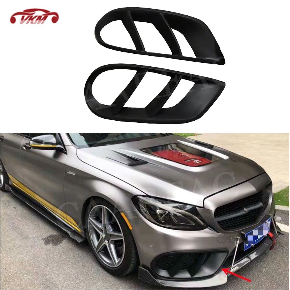 C Class Front <font><b>Bumper</b></font> Air Vent Outlet <font><b>Cover</b></font> Trim for Mercedes Benz <font><b>W205</b></font> C43 AMG C180 C200 Sport 2015-2019 FogLamp Grill Frame FRP image