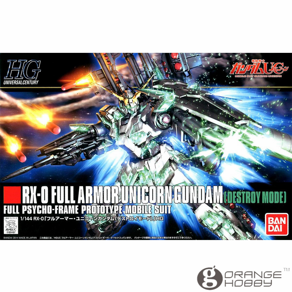 OHS Bandai HGUC 178 1/144 RX-0 Full Armor Unicorn Gundam Destroy Mode Mobile Suit Assembly Model Kits ohs bandai mg 155 1 100 rx 0 unicorn gundam 02 banshee mobile suit assembly model kits oh