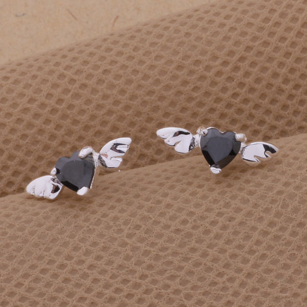 Silver Plated Crystal Small Angel Wing Stud Earrings