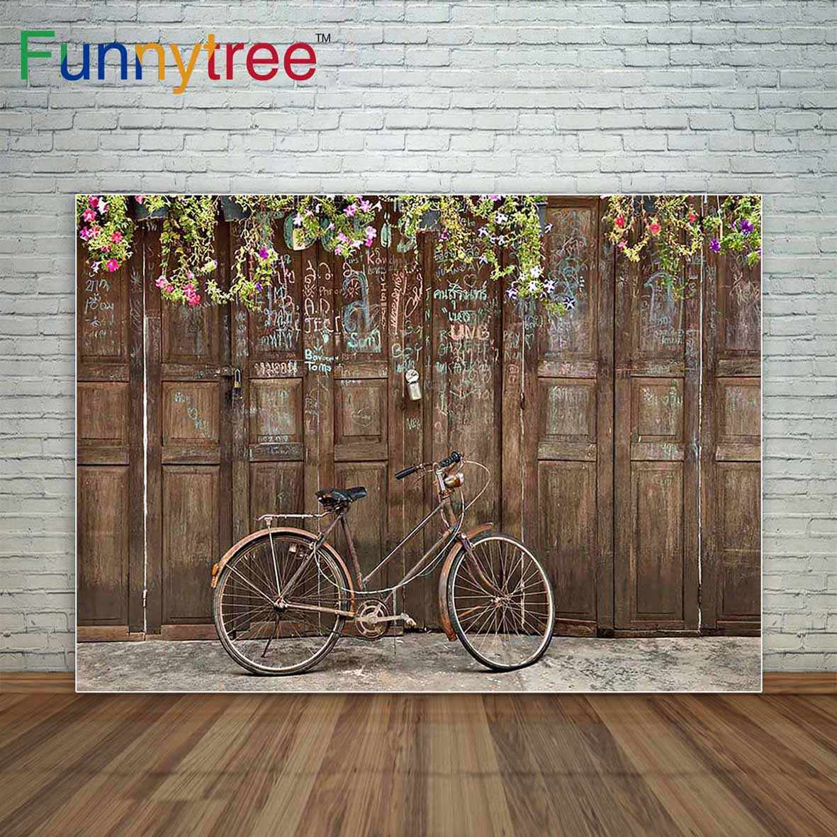 8x8FT Vinyl Backdrop Photographer,Bicycle,Retro Colorful Bikes Background for Baby Birthday Party Wedding Studio Props Photography