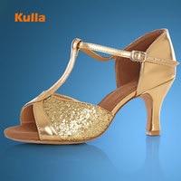 Kulla 새로운 도착 뜨거운 판매 라틴어 댄스 신발 탱고 살사 볼룸 신발 여성 여성 높은 굽