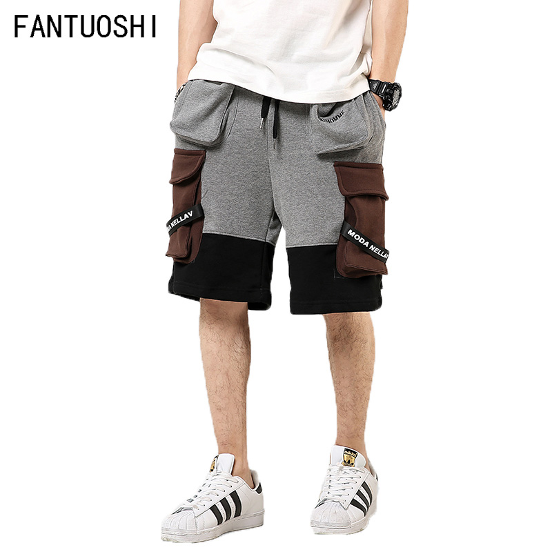2019 Summer New Fashion Shorts Men High Quality Hip Hop Casual Elastic Jogger Shorts Multi-pocket Stitching Men's Shorts 5XL