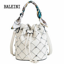 Summer new style Women Scarf Bucket Bag Fashion Tassel Shoulder Bag High Quality Rivet Messenger Bags Female Crossbody Bag Tote недорого