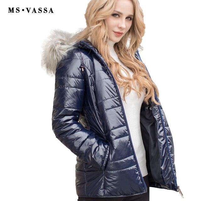 MS Vassa Lades Куртка Новинка 2017 г. модные парки осень зима пальто искусственный мех съемный капюшон воротник большие размеры Верхняя одежда