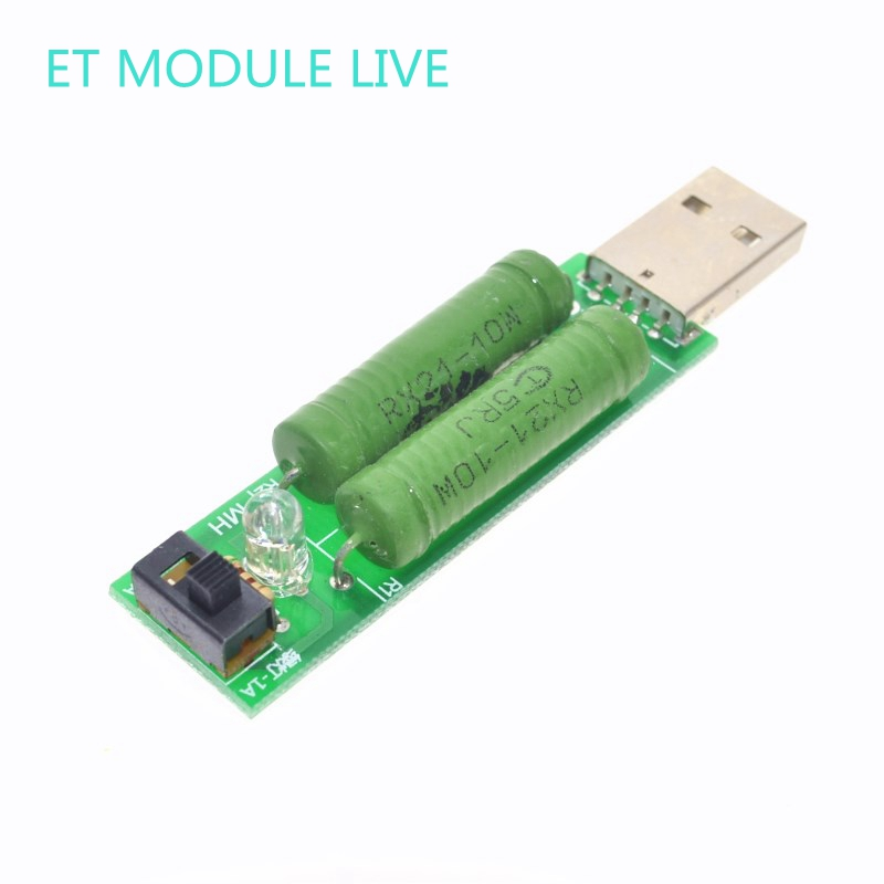 USB mini discharge load resistor 2A/1A With switch 1A Green led, 2A Red led