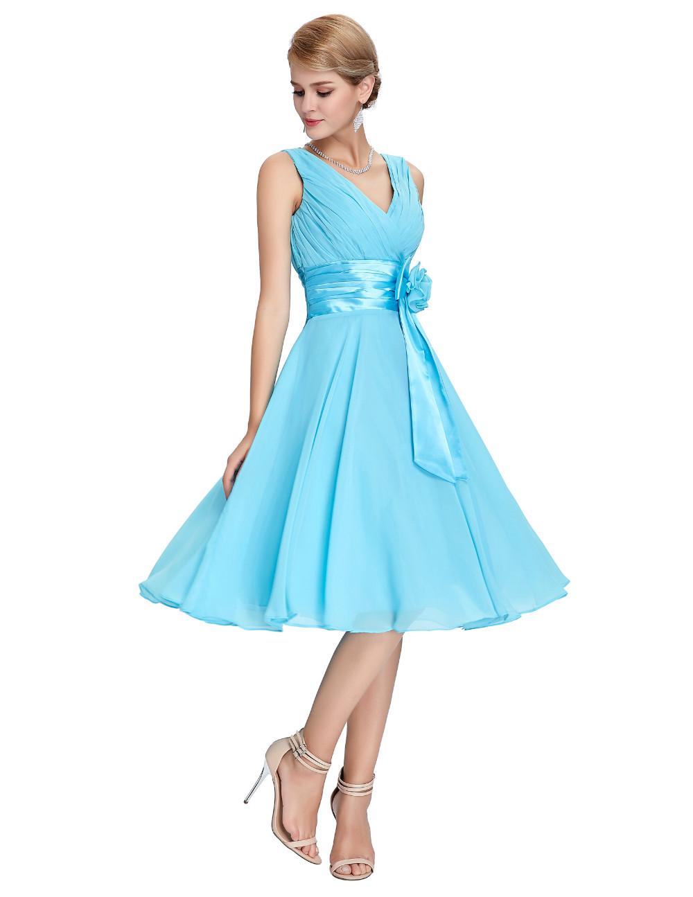 HTB1eOrLMVXXXXbXaXXXq6xXFXXXMKnee Length Short Chiffon Blue Dress