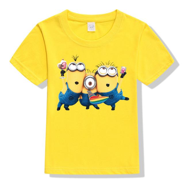 Nuevo 2017 Verano 100% Algodón Niños de la Camiseta Despicable Me 2 Minion Niños Niñas Ropa de Manga Corta T-Shirt Niño Remata camisetas