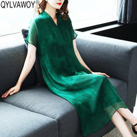 Летнее шелковое платье для женская одежда 2019 Винтаж корейский зеленый Миди Платья офисные элегантное платье 8599 MY2927