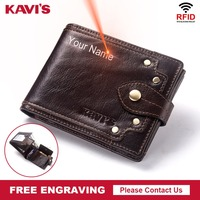 KAVIS Free Engraving Genuine Leather Trifold Men Wallet Coin Purse Male Zipper Walet Portomonee PORTFOLIO Card Holder for Boy