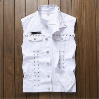 Personality Denim Red Black White Rivet Denim Vest Men Brand Coats Male Cowboy Waistcoat Man Sleeveless