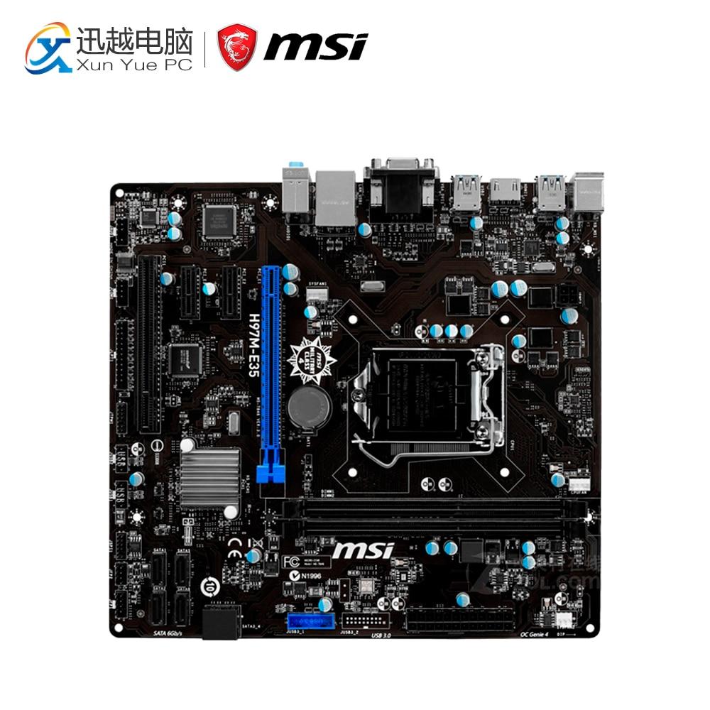MSI H97M-E35 Desktop Motherboard H97 Socket LGA 1150 i3 i5 i7 DDR3 16G SATA3 USB3.0 Micro-ATX msi h97m g43