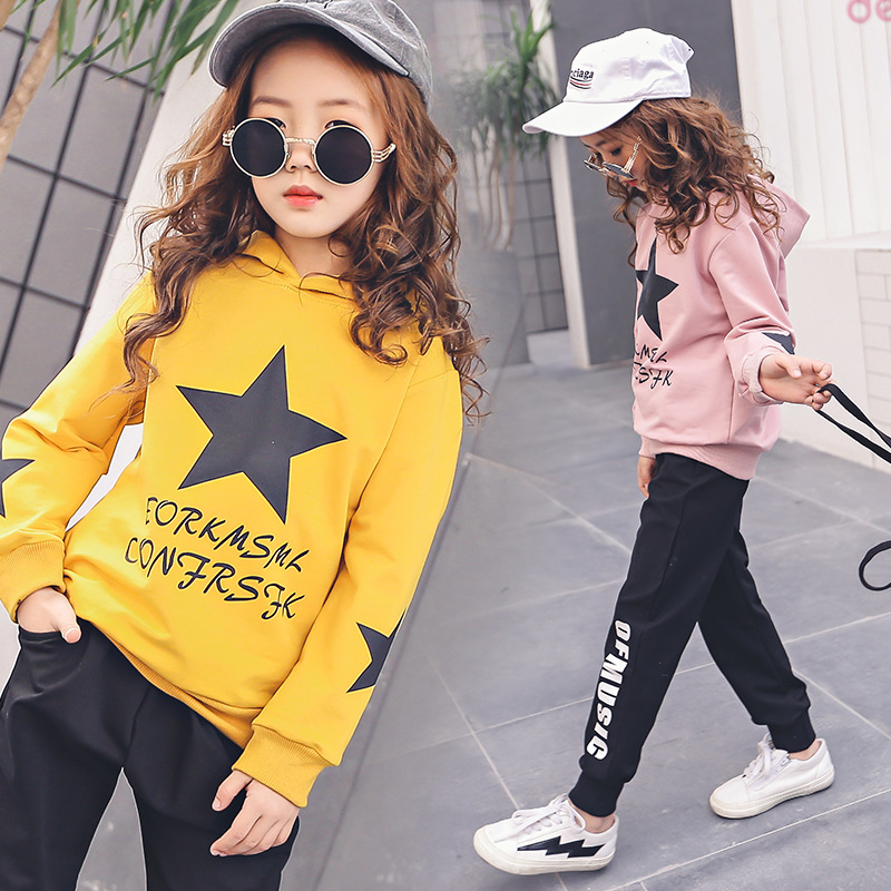 Kids Sports Suit for Girls Tracksuit 6-14Y New 2018 Long Sleeve Tops & Pants Spring Autumn Children Clothing Set hooded girls tracksuit autumn spring 2018 striped girls tops sports suit children clothing set kids pants 2 pcs set for girls