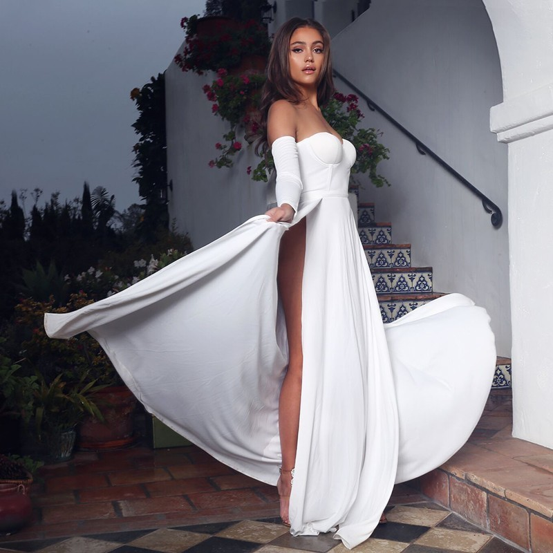 164b49eb0bb Fuedage Simple Solid Off The Shoulder Dress Women 2018 Party Summer Dresses  High Split Vintage Maxi Long Dress Vestidos-in Dresses from Women s  Clothing on ...