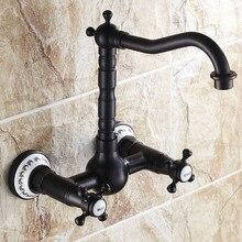Долго масло втирают бронзовая готовые кухонный кран dual-ручки ванной раковина смеситель с поворотным изливом