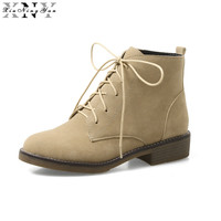 XiuNingYan Oxford Flats Ankle Women S Boots Shoes Woman Female Fashion Lace Up Scrub PU Rubber