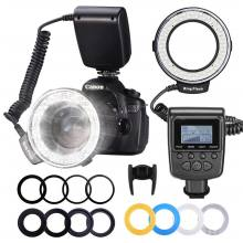48 Macro LED Ring Flash Bundle with LCD Display Power Control Adapter Rings Light Diffusers For Canon 650D 600D 550D Nikon D5000(China)