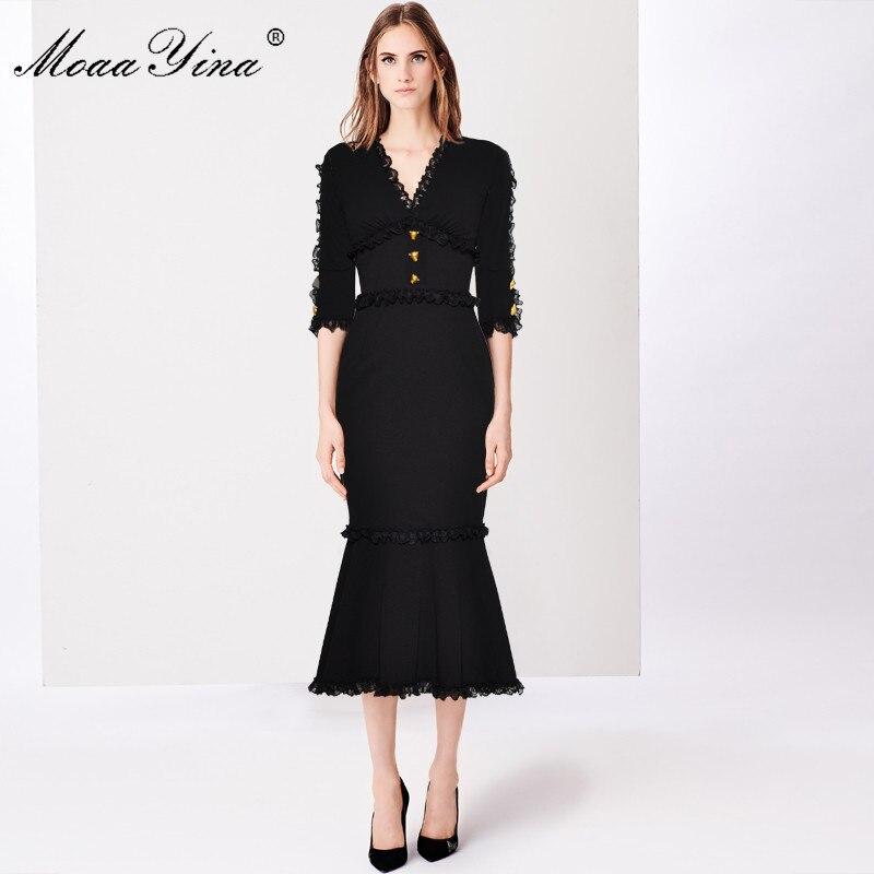 MoaaYina Mode Designer Runway Kleid Sommer Frauen V ausschnitt Halbe hülse Spitze Taste Schlank Paket hüfte Edle Elegante Fischschwanz Kleid-in Kleider aus Damenbekleidung bei  Gruppe 3