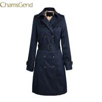 Chamsgend Nieuw Ontwerp Vrouwen Winter Klassieke Windjack Kraagvorm Trenchcoat Double Breasted Regenjas 70922