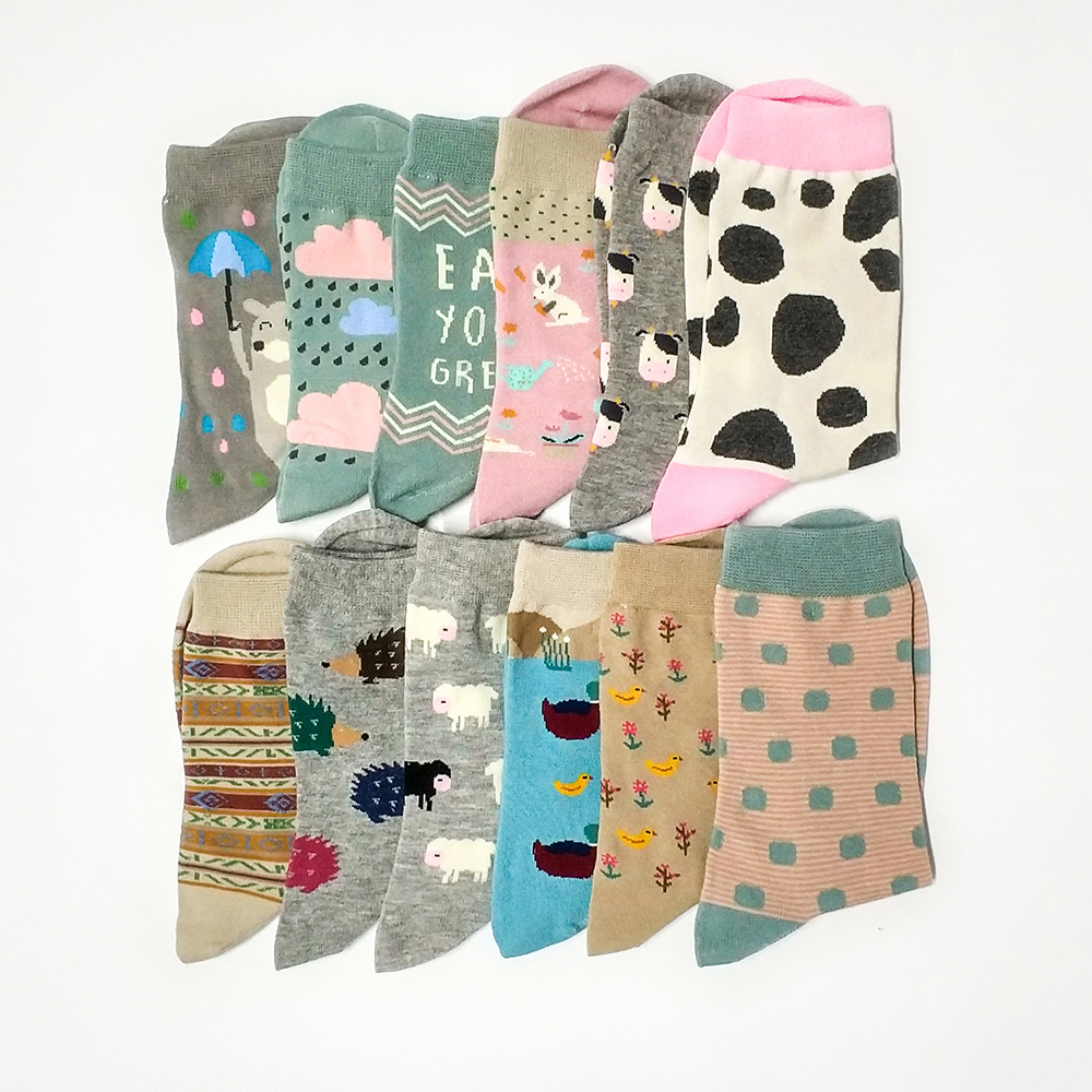 2018 New Cotton   Socks   Women Cartoon   Socks   Animal Sheep Stripe Dots Girls Colorful   Socks   Funny   Socks