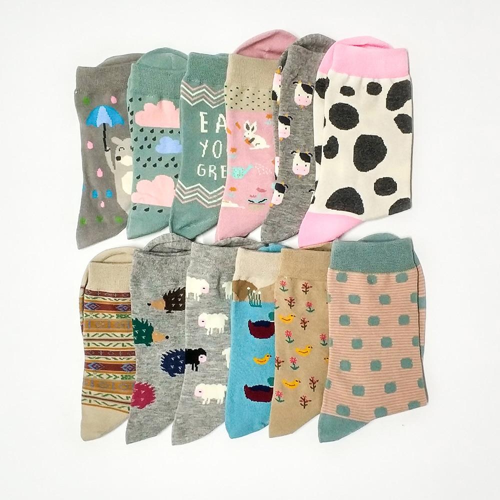 2018 New Cotton   Socks   Women Cartoon   Socks   Animal Sheep Stripe Dots Girls Colorful   Socks   Funny   Socks