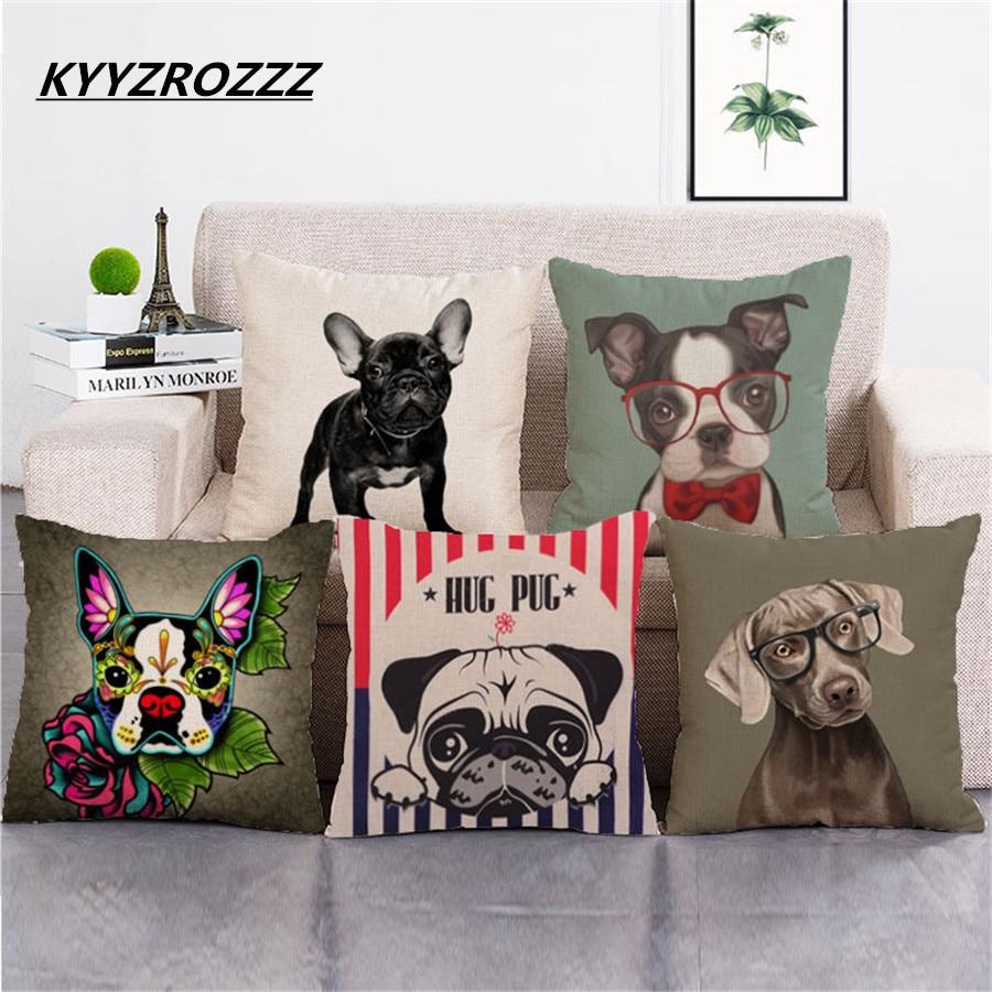 Cartoon Cute Pop Art Bulldog Boxer Dog Print Car Decorative Throw Pillowcase Pillow Case Cushion Cover Sofa Home Decor