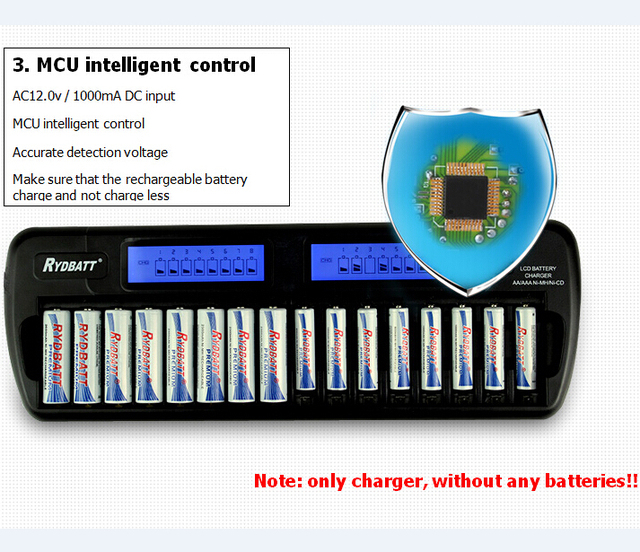 Rydbatt oem 16-bay auto-detectar a aa/aaa nimh/nicd lcd embutido proteção ic carregador de bateria inteligente inteligente + adaptador de parede ac
