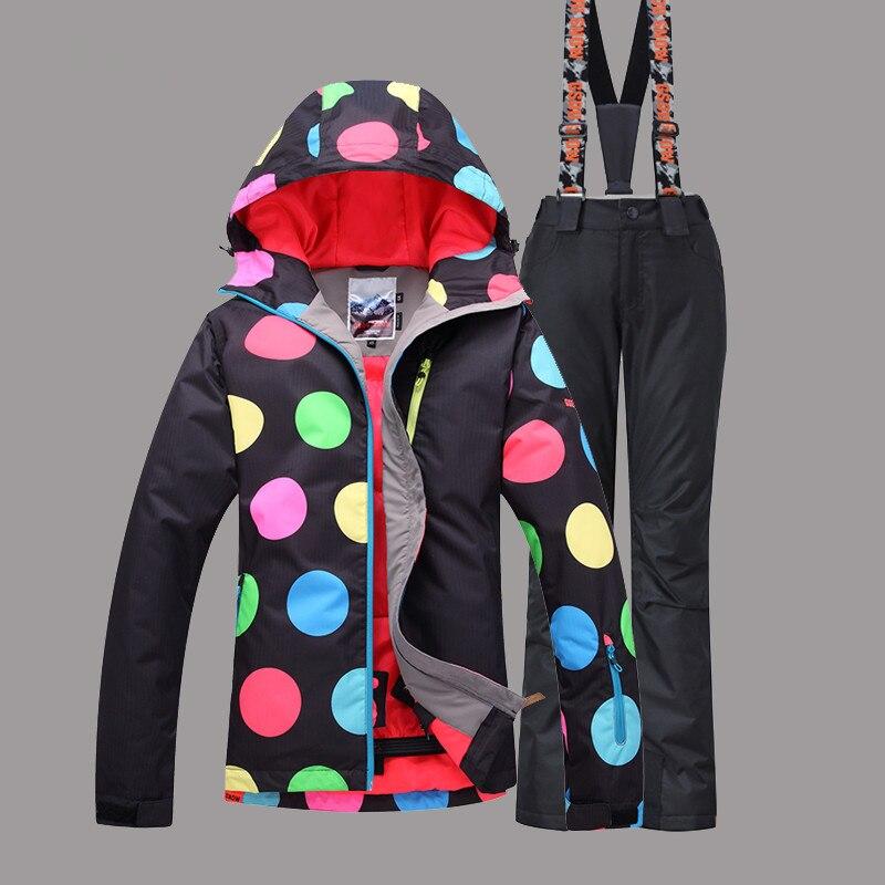 Ropa de invierno mujer chaqueta gsou snow + pantalones a prueba de viento imperm