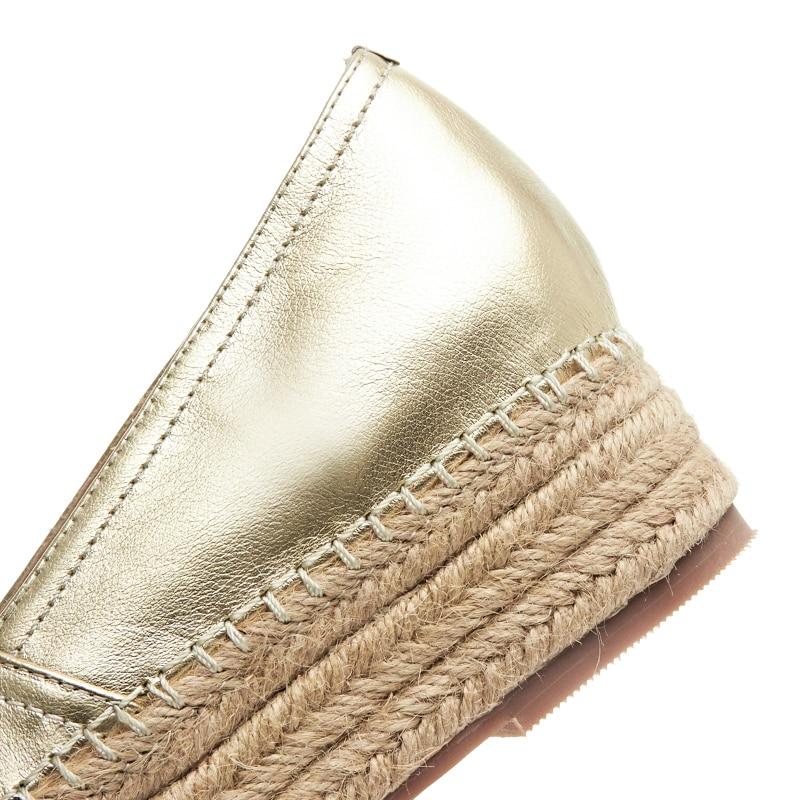 Plata Marca Mujeres De Alpargatas on Plataforma Oro silver Slip Bottom Las Cáñamo Gold Mocasines Genuino Diseñador Cuero Zapatos XSgw5qB5