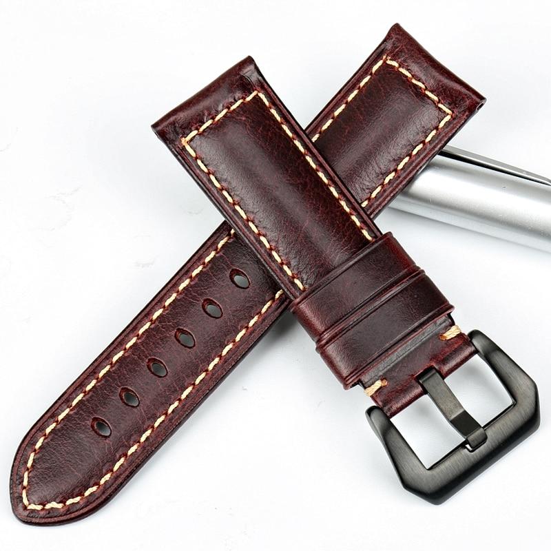 MAIKES Vintage красный итальянский кожаный - Аксессуары для часов - Фотография 3