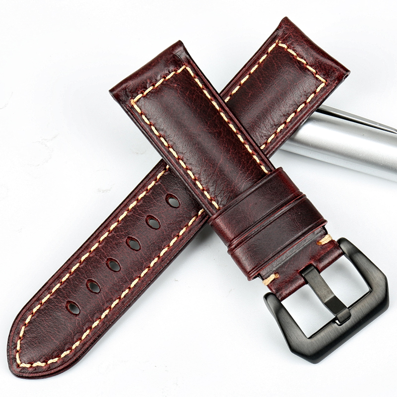 MAIKES Винтидж червен италиански кожени - Аксесоари за часовници - Снимка 3