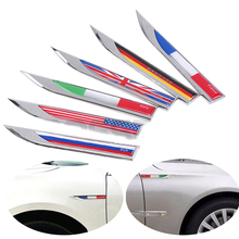 Car Side Fender Knife Stickers Germany Italy England France US Russian Flag Metal Emblem Badge Decals Auto Exterior Accessories