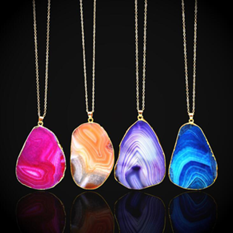 1 Pieces Nature Stone Fashion Design Chain Necklaces & Pendants For Women Jewelry Unique Necklaces Sweater Chain New Gifts