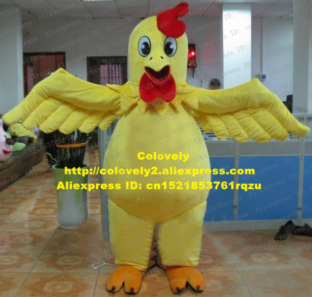 Ausdrucksvoll Mighty Gelber Hahn-maskottchen-kostüm-erwachsene Rooster Hen Huhn Chook Maskottchen Kostüm Cartoon Charakter Mascotte Scharfen Mund Orange Oblate Füße Zz1071 Fs Nachfrage üBer Dem Angebot