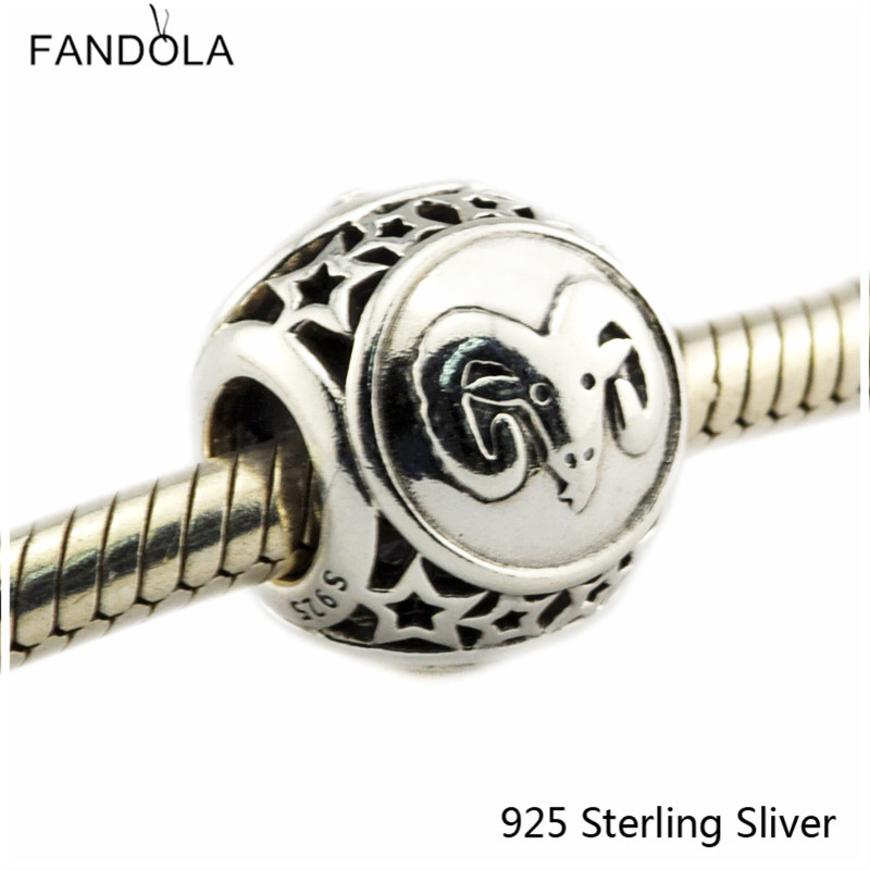 Aries Star Sign 925 Sterling Silver Charm Beads Fits For Pandora Bracelet Charms for DIY Fine Jewelry