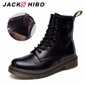 JACKSHIBO 2016 brand womens winter fur boots Black genuine leather Martin Boots women dress Ankle Bootie Combat Boots with fur
