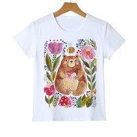 Boys Girls Bear And flower T-shirts 2018 Summer Fashion Kids Clothing Tops Cartoon Bear Pattern T Shirts Y14-73