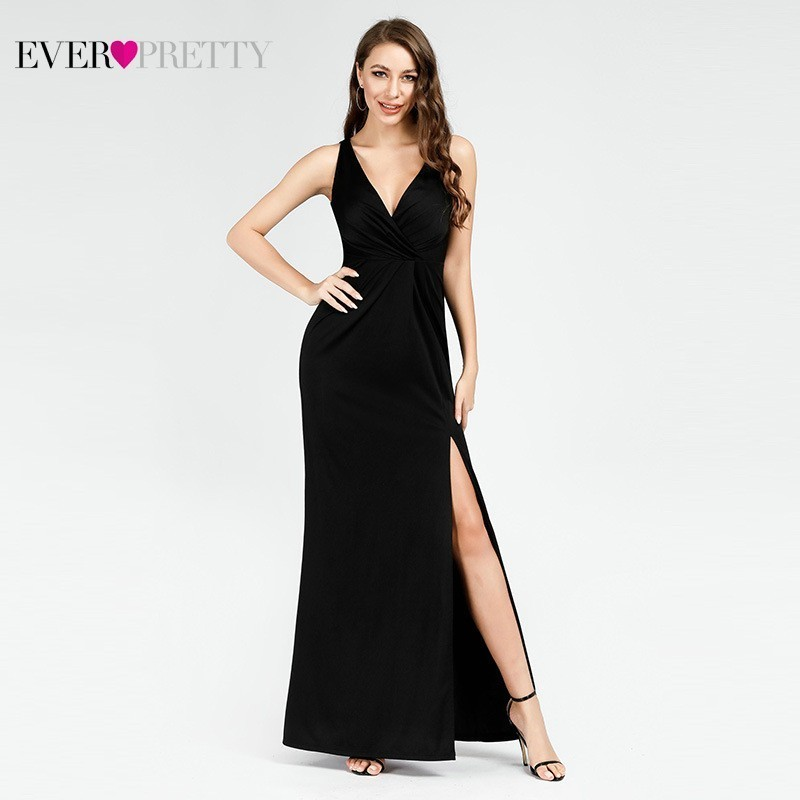 Black Prom Dresses 2019 Ever Pretty Mermaid Sleeveless V-Neck High Split Ruffles Elegant Women Evening Party Dresses Gala Jurken